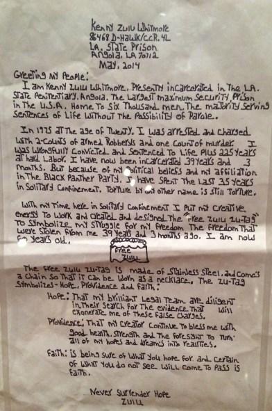 Letter written by Zulu to V&A.