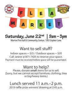 Advertisement flyer for flea market taking place on Saturday, June 22, 2019 in Marion, Montana.