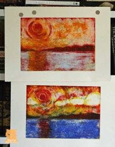 Sunset over the Minch monoprints by Marion Boddy-Evans