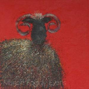 Sheep Painting: Red Sky at Night, Hebridean Delight Isle of Skye Artist Marion Boddy-Evans