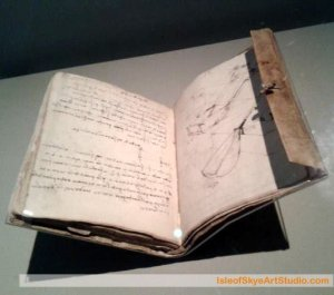 Leonardo da Vinci notebook in V&A London