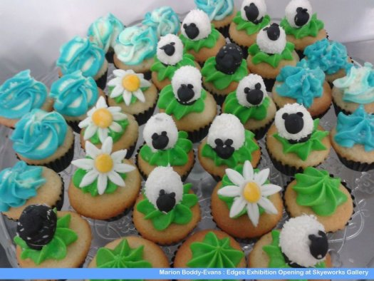 Sheep, daisies and seascape blues... cupcakes made by The Isle of Skye Baking Company for my exhibition opening.