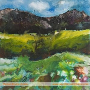 First Gorse painting by Skye Scotland artist Marion Boddy-Evans