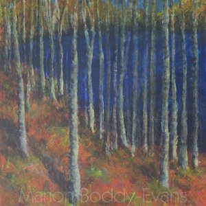North Shore forest painting by landscape artist Marion Boddy-Evans Skye Scotland