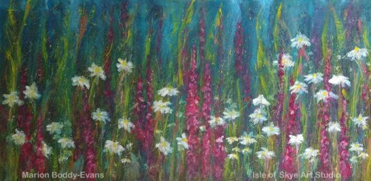 Details from daisies and foxgloves commissioned painting