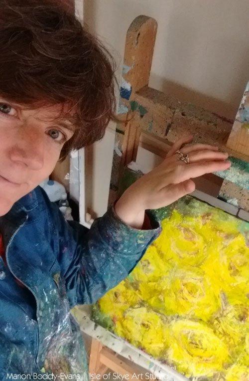 Artist Marion Boddy-Evans in her studio