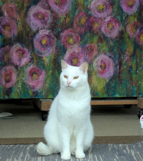 Studio Cat and Roses Painting
