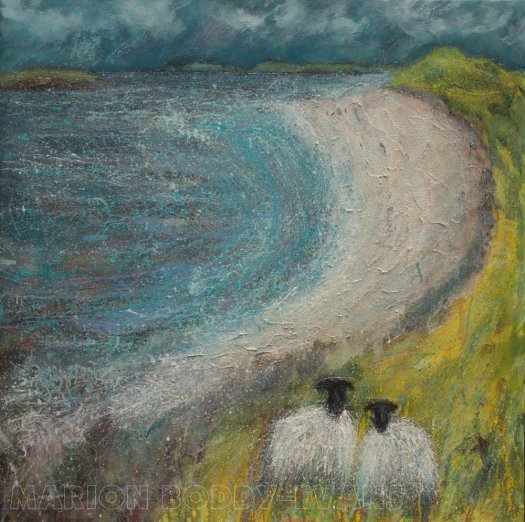 Sheep Painting Coral Beach Picnic by Marion Boddy-Evans