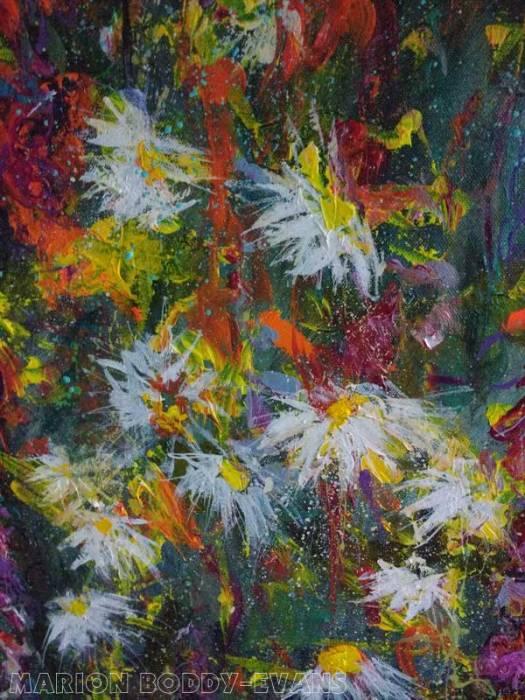 Detail from painting in progress: daisies Marion BOddy-Evans Scotland artist Modern Impressionist