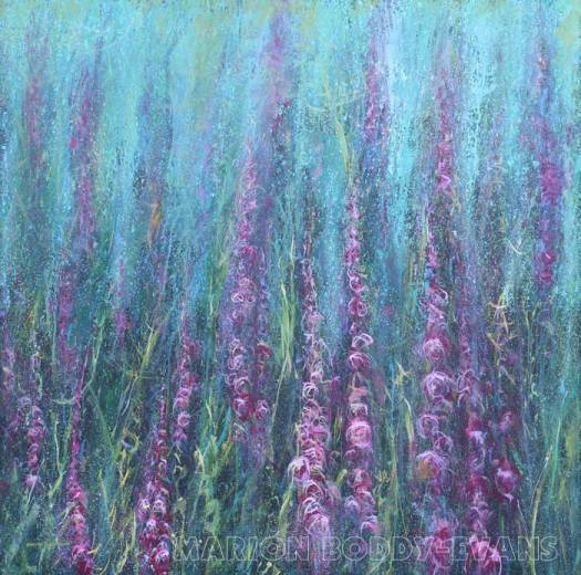 Flower Painting: Ascending Pinks Foxgloves by Marion Boddy-Evans