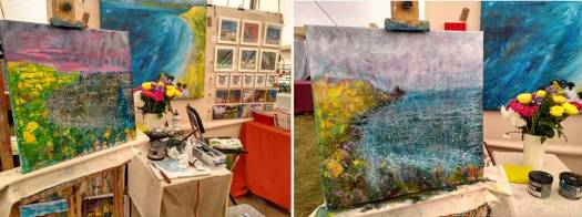 Artist Marion Boddy-Evans at Patchings Art Festival 2017 painting seascape