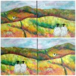 The Long Road Home sheep painting by Marion Boddy-Evans