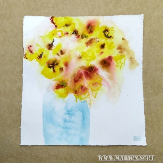 Daffodils in Blue Vase Cropped painting