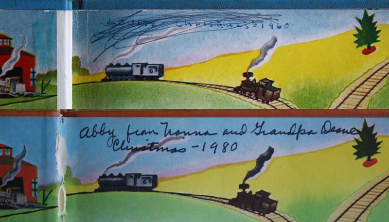 """The top inscription """"Louise - Christmas - 1960"""" is in the copy of The Little Engine that Could that my parents gave to me.  It was the silver anniversary edition.  The bottom inscription is in the copy my parents gave to my daughter, Abby, in 1980.  Bill and I gave Jackson his own copy in 2006."""