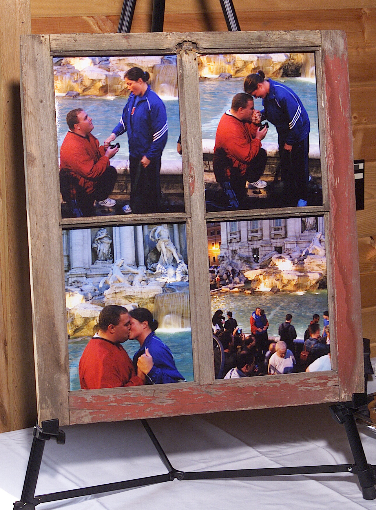 May 27, 2007:  The sequence of Joe proposing to Katie in front of Trevi Fountain, Rome, Italy.  Click photo to enlarge.  (The wood frame is from the barn, built in 1904, at the homeplace where my father was raised.)