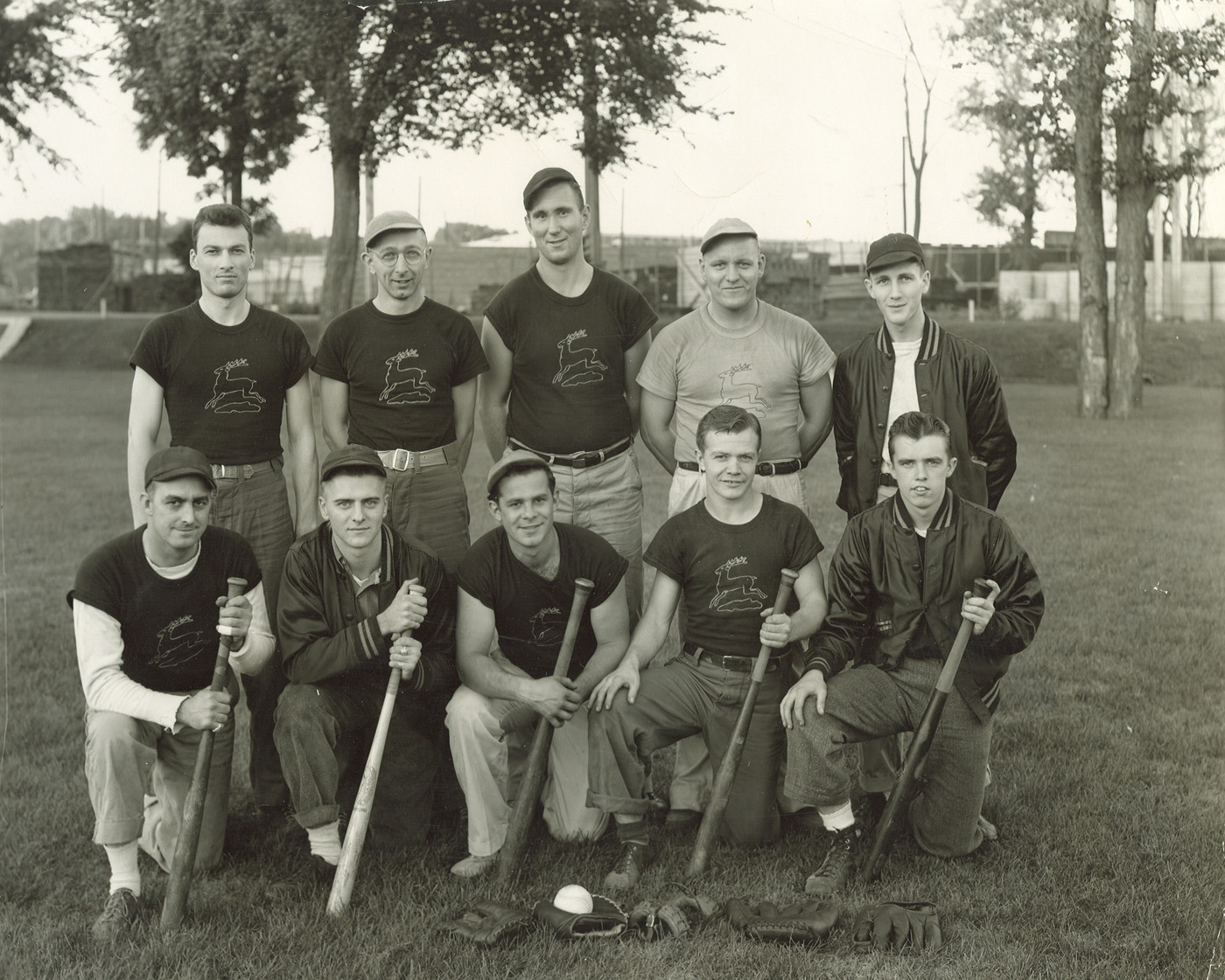 My father, Deane Gunderson, played on this John Deere softball team during his 1940 to 1945 employment with John Deere in Waterloo, Iowa.  (Click photo to enlarge.)