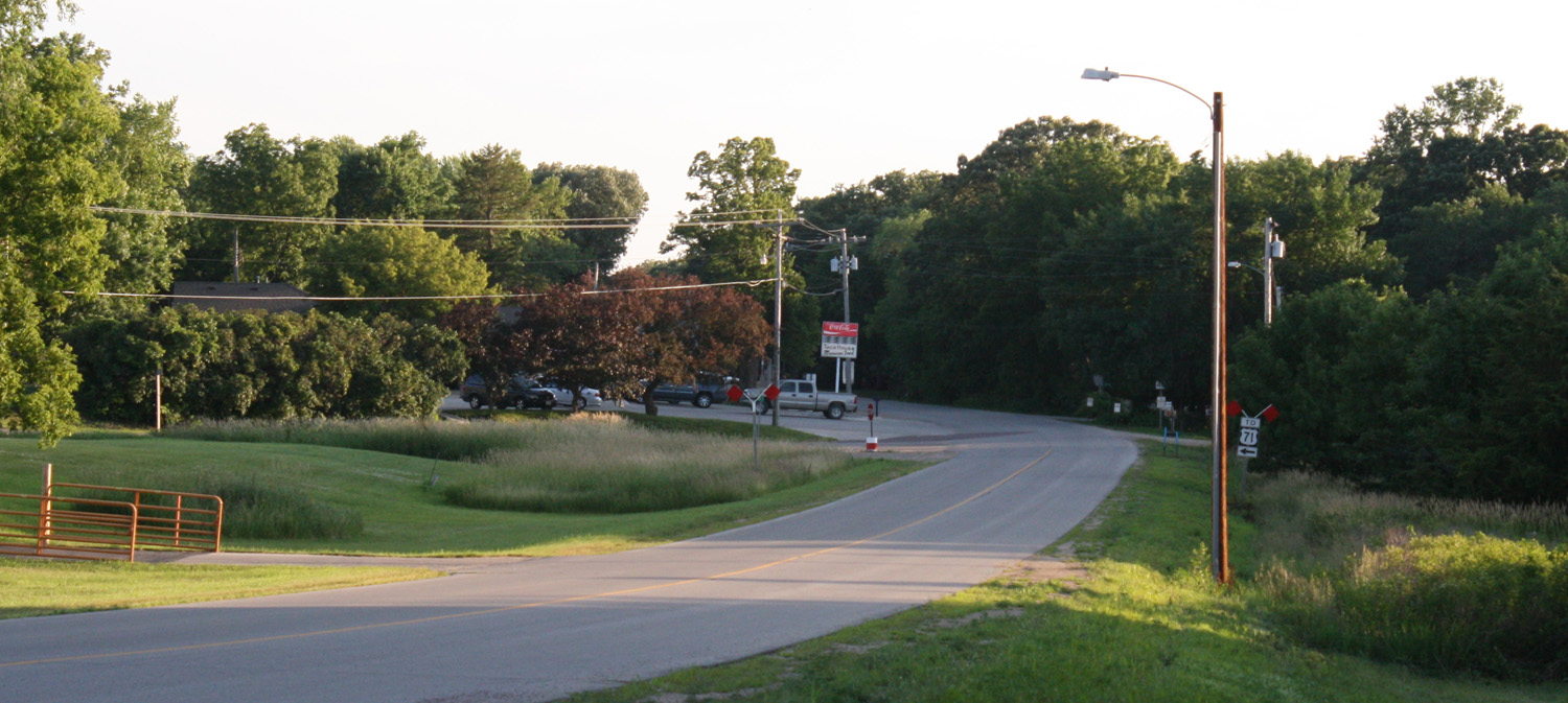 On old Highway 71, looking to the south at the Taco House.  (Click photo to enlarge.)