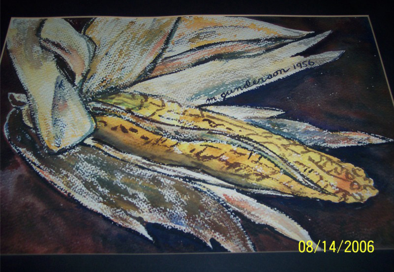 Iowa Corn watercolor by Mother (Marion Gunderson), 19--.