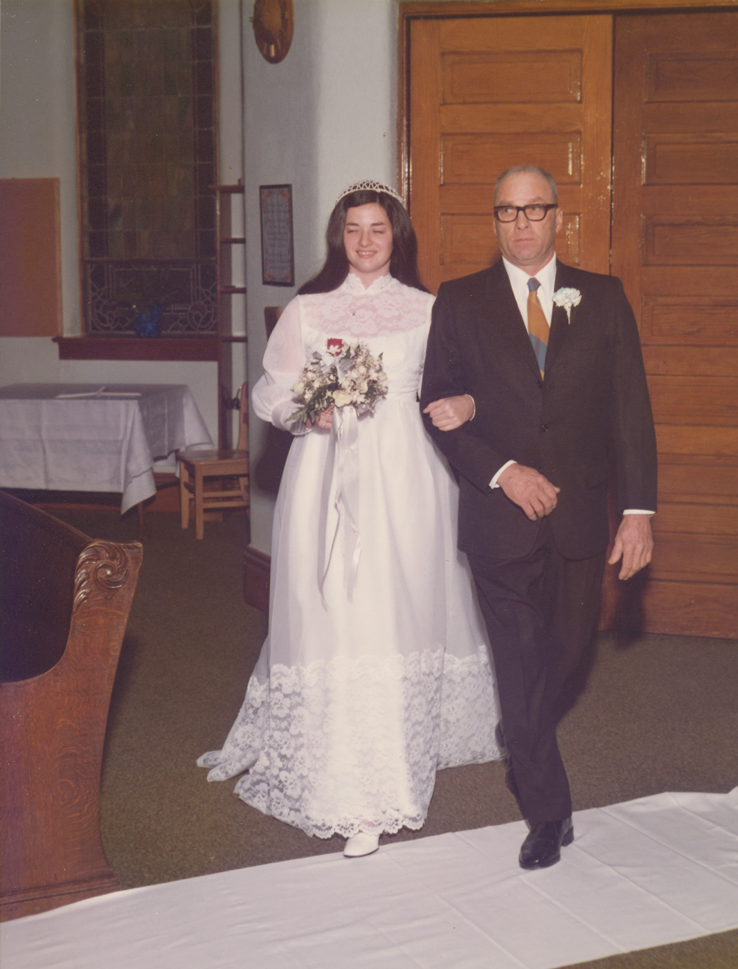 """My father and me (Louise) on November 15, 1975.  I purposely did not crop closely in case anyone wanted to """"relive"""" a visual of Rolfe's Presbyterian Church.  The last service held in this church was its Commemorative Sunday, April 30, 1995.  (Click photo to enlarge.)"""