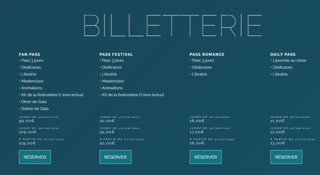 billetterie festival new romance 2021