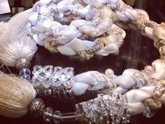 Diamante and Pearl handfasting cord
