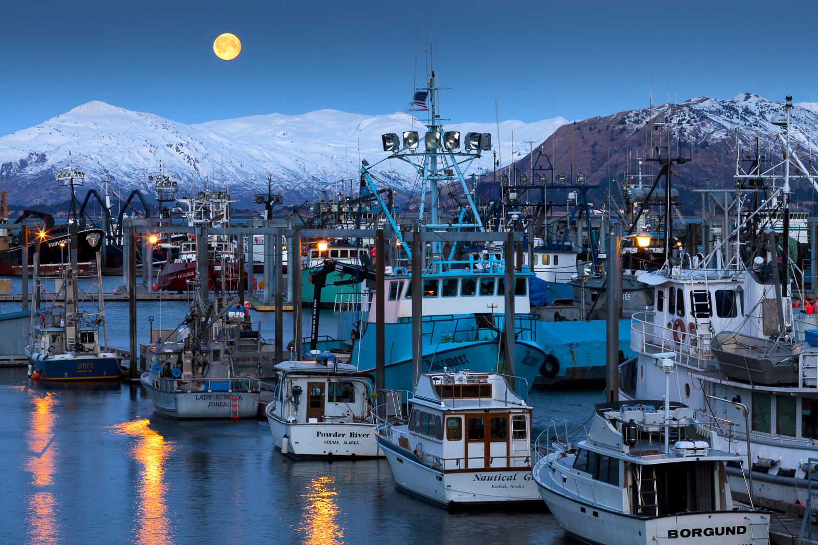Kodiak, Alaska, moon, full moon, moonrise