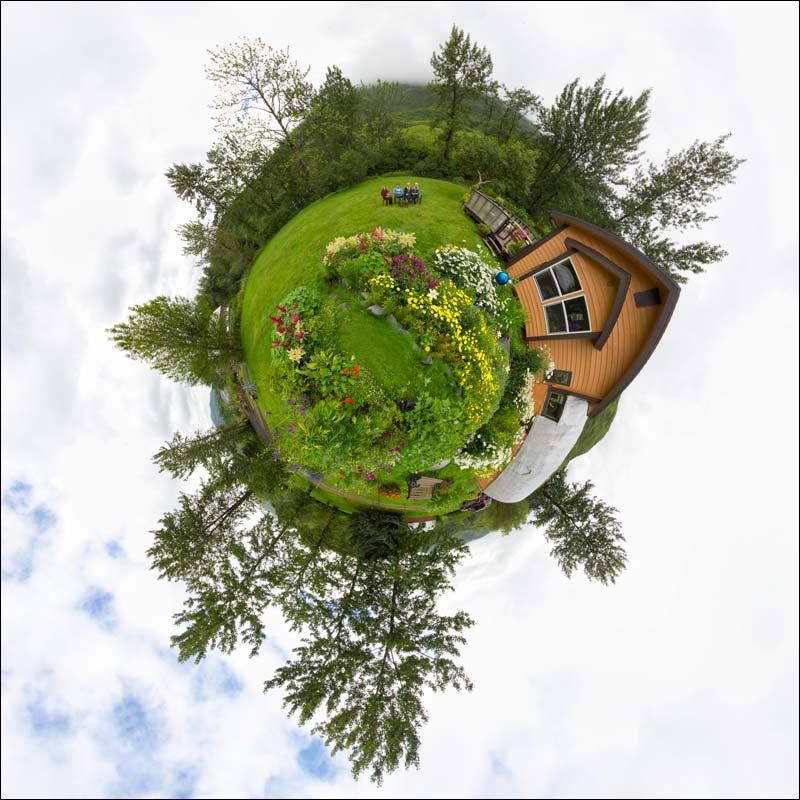 Little Planet view of a flower garden in Kodiak, Alaska
