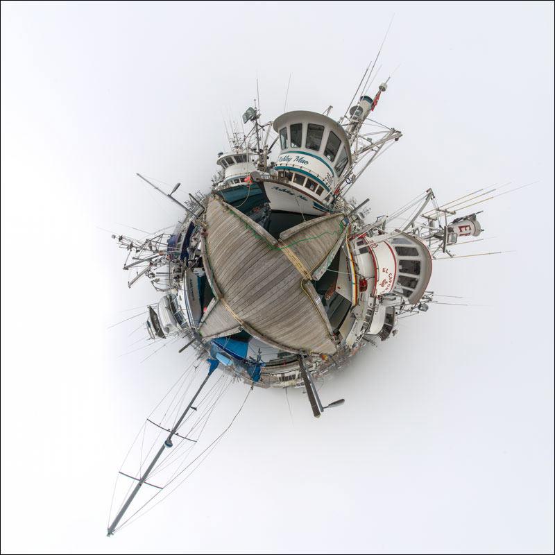 Little planet view of harbor in Kodiak, Alaska