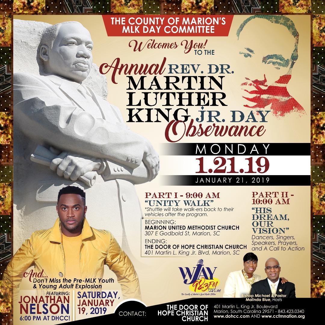 Rev Dr Martin Luther King Jr Day City Of Marion South Carolina
