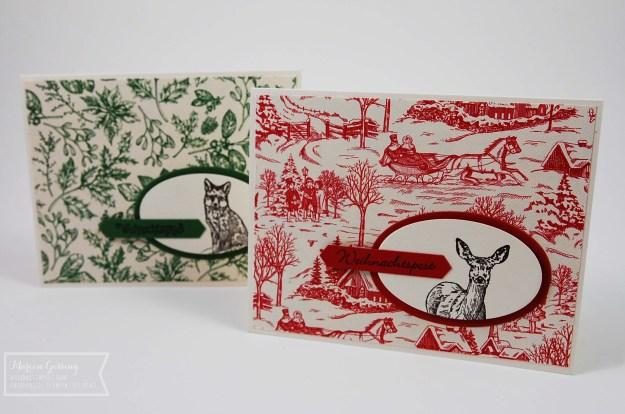 Zwei Weihnachtskarten mit dem Stempelset Natures Beauty von Stampin' up