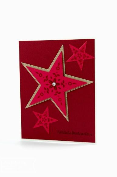 Weihnachtskarte mit Sternen, Stampin up