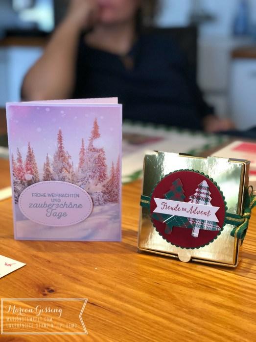 Stampin' Up Weihnachtskarte und weihnachtliche Verpackung in Gold