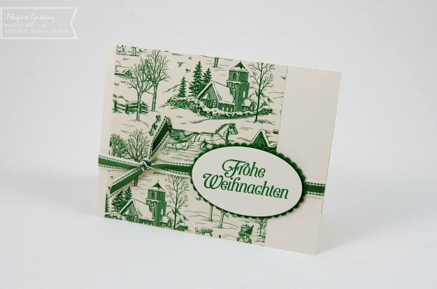 Handgemachte Weihnachtskarte mit Designerpapier Landhausweihnacht