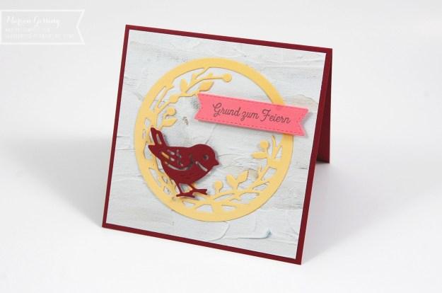 """Gebastelte Geburtstagskarte mit Stampin Up Produkten """"Vögel und mehr"""""""