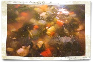Chicken soup simmering