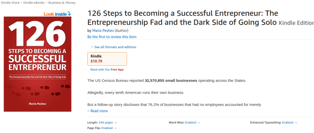 126 Steps to Becoming A Successful Entrepreneur - Amazon Book