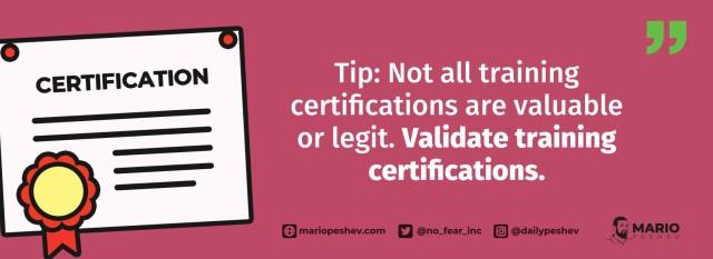 validating training certifications