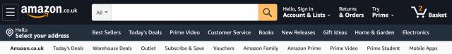 Amazon menu