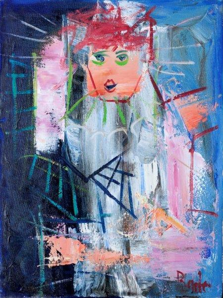 badri blue clown painting