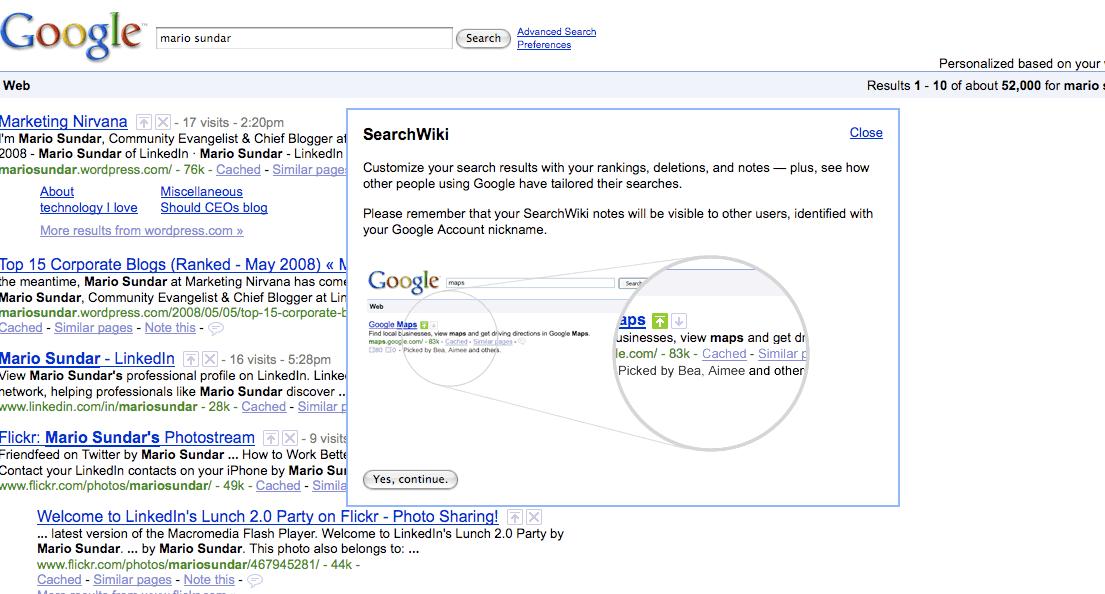 "Google SearchWiki for ""Mario Sundar"""