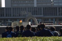 Students admire the Peace Flame