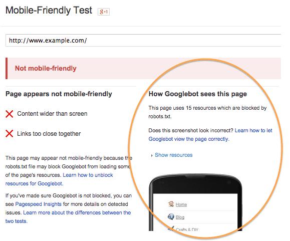 Uma das maiores razões de falha no Teste Mobile-Friendly é que o robô não consegue acessar alguns recursos como CSS e JavaScript, que são cruciais para entender que seu site é mobile.