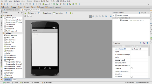 Aba Design no Android Studio