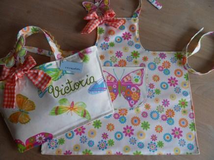 conjunto de bolsa y delantal infantil