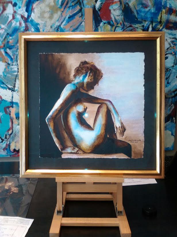 Acuarela de Ana Muñoz. Serie desnudos.