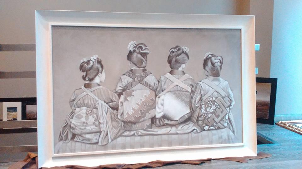 Aprendiz de Geisha:, óleo, tecnica de pintura al fresco