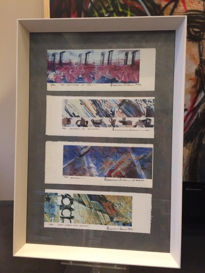 Varias piezas en un marco #enmarcaciones #zaragoza #arte #MarisaCervantes #decoracion #cuadros #marcos
