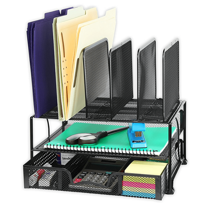 mesh desk organizer with drawer