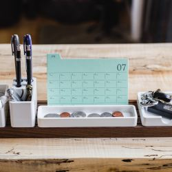 desk organizer on wooden table