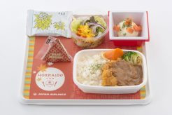 JAL new Hokkaido Economy Meals, Pork Cutlet with Demi-glace Sauce and Cooked Rice with Bamboo Shoot (Nemuro)